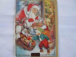 Klappkarte mit Gold Umschlag Lisi Martin,Kinder beim Weihnachtsmann
