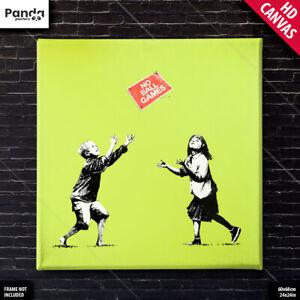 Banksy No Ball Games Poster Canvas Urban Street Art Print (60×60cm/24×24in)