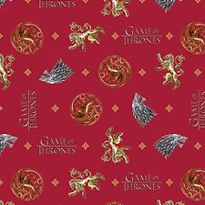 Game of Thrones HBO Westros Red Signals  Cotton Print by the yard