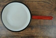 Vintage Enamelware Red & White Skillet Pan Made in Poland