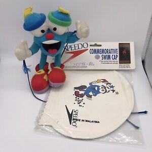 "IZZY Whatizit 1996 Atlanta Olympic Mascot 8"" Plush Stuffed Animal & Speedo Cap"