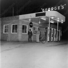 "1950s man at georges gas station vintage 2"" Negative  Ki2"