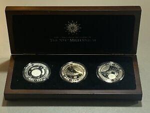 2000 Kiribati 3 Coin Silver Proof Set - The New Millennium w/ Wooden Display Box
