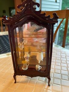 Vintage Miniature Dollhouse Made in Taiwan Curio Case with Glass Door
