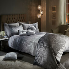 Ombre Crushed Velvet Glitter Shimmer Duvet Cover Set Bedding Range Silver Grey