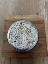 New Bernice Vintage Two Way Round Pocket Compact Mirror Push Clasp. Silver