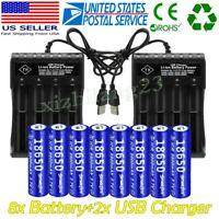 8PCS Skywolfeye 18650 Battery 3.7V Li-ion Rechargeable & Charger For Flashlight