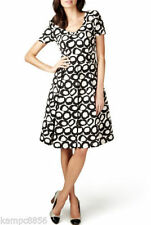 V Neck Party Spotted Skater Dresses for Women