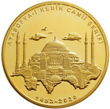 TURKEY 2020, Hagia Sophia Reopen as Mosque, GOLD plated Silver 925 COIN with BOX