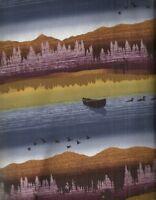 Moose Creek Lake scenic stripe Studio E outdoors wildlife  fabric