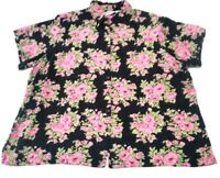 Fashion Bug Plus Size 22 24 2X Button Up Front Shirt Top Black Pink Floral