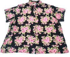 FASHION BUG Plus Size 22 24 2X 3X Black Pink Floral Button Up Front Shirt Top g0