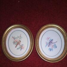 2 Vintage Homco Framed Bird Art Prints Wall Hangings 1983 Oval Frame 11 x 9 Gold