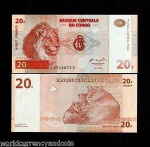 CONGO DR.ZAIRE 20 FRANCS P88 A 1997 *REPLACEMENT JZ LION UNC CURRENCY MONEY NOTE