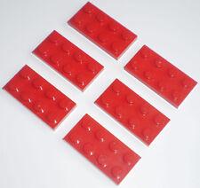 JEU JOUET ENFANT Personnage LEGO * Lot 6 BRIQUES PLATES 2 X 4 - ROUGE  * !!