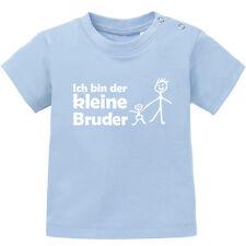 """Baby T-Shirt kurzarm bedruckt """"Ich bin der kleine Bruder"""" Männchen BIO Baumwolle"""