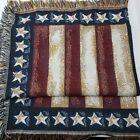 "Gorgeous American Flag Throw Blanket Afghan Tapestry 48""x52"" Farmhouse Patriotic"