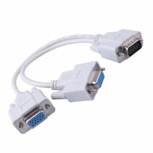 One Male VGA to 2 Female VGA Splitter Cable 2 Way VGA SVGA Monitor Video Adapter