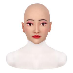Silicone Face Head Headgear  Goddess Alice Female Face Crossdresser Masquerade