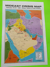 "1991 Desert Storm War ""MIDEAST CRISIS MAP"" 18"" x 12"" nice size to mat and frame"