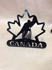 Steel Hockey Player/Stick/Puck Trailer Hitch Cover-Nhl Canada Logo/Leaf
