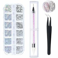 1500pc Crystals AB Rhinestone Jewelry Glass 3D Glitter Diamond Nail Art Supplies