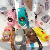 iPhone 11 XS Max XR X 8 7 Plus 3D Cute Cartoon Silicone Strap Wallet Case Cover