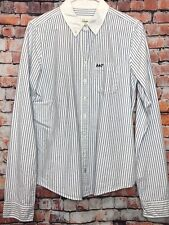 ABERCROMBIE & FITCH L Vgc White Blue Stripe Longline Shirt Blouse Top