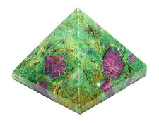 PYRAMID - ZOISITE w/ RUBY 32-35mm Crystal w/Pouch & Description - Healing Reiki