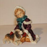 LUMINOS FITZ & FLOYD  GIRL W/DOG CHRISTMAS WINTER NUMBERD
