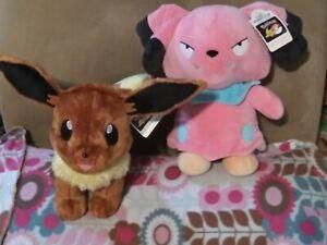 Two Build A Bear Nintendo Pokemon Plush Stuffed Snubbull Eevee bab toy