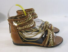new Summer TAN/Gold NEW WOMEN FASHION ankle straps Gladiator SANDALS SIZE  6