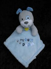 Baby Gear Blue White Gray Bulldog My Best Pup Lovey Soft Security Blanket 15x15