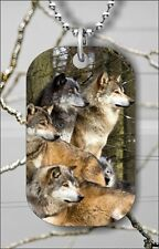 WOLF PACK OF WOLVES DOG TAG PENDANT NECKLACE FREE CHAIN -sed1Z