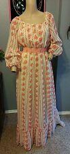 Vtg 60's Sheer Gauze Pink Floral Prairie Festival Folk Boho Maxi Dress 8
