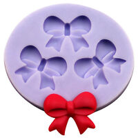 3D DIY Bowknot Bow Fondant Cake Chocolate SugarCraft Mold Silicone New.