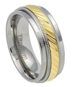 7.5mm Titanium Wedding Band Ring Yellow IP Notched Center & Milgrain Design