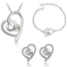 Schmuckset Kette Anhänger + Ohrringe + Armband Swarovski® Kristall Silber Herz