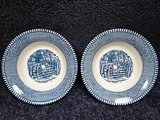 Currier Ives Royal China Blue and White Farm Gate Berry Fruit Bowl TWO NICE!