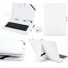 White Faux Leather Case German Keyboard For Archos 101b Platinum / 96 Xenon