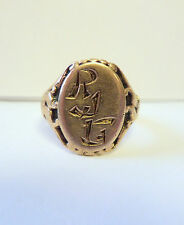 VINTAGE MENS WOMEN UNISEX 10k YELLOW GOLD RING ASIAN INSPIRED INITIALS DETAILS