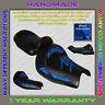 Unique Custom Seat COVER Suzuki Hayabusa 99-07 (1Gen) Black+Blue-Chrome(3pillow)