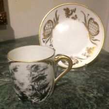 BEAUTIFUL LIMOGES FRANCE FRENCH COUNTRY SCENE DEMITASSE CUP AND SAUCER