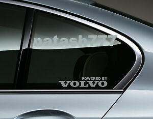 Powered by VOLVO Sport Racing Decal sticker Window emblem logo SILVER Pair