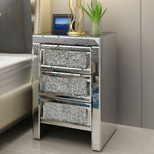 Mirrored Crystal Glass Bedside Table 3 Drawers Cabinet Bedroom Modern Nightstand