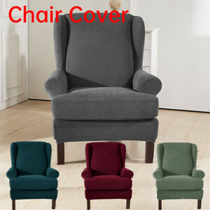 Stretch Elastic Wingback Armchair Cover Wing Chair Cover Slipcover Protector New