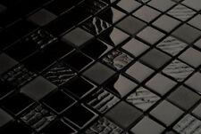 LUXUS Glasmosaik Fliesen Mosaik schwarz STRUKTUR EFFEKT glänzend + matt 8mm