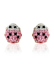 Lovely Lady Bug Earrings W/Genuine Crystal in Multicolor Enamel and Yellow Gold