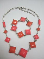 Pink Triangle Necklace Set
