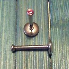 Lippenstecker Labret Piercing Lippe aus C316L - Stein rosa 10 mm, 16g (1,2 mm)
